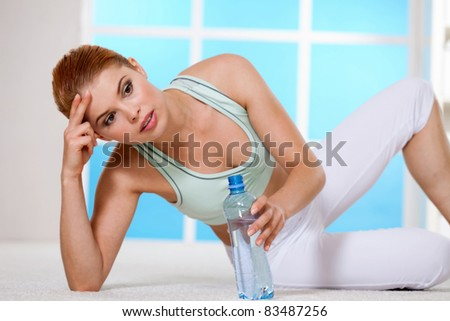a young girl engaged in aerobic exercise - stock photo