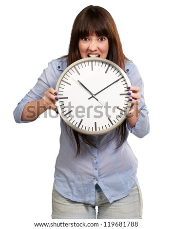 A Young Girl Holding A Clock On White Background