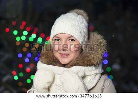 A young girl in anticipation of new year