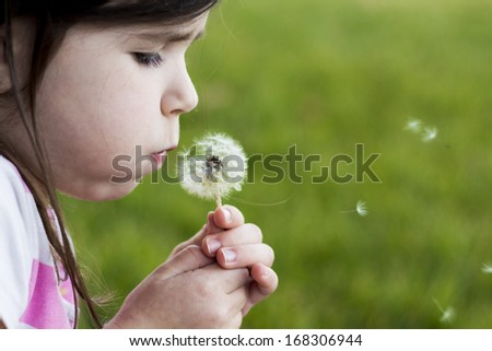 A young girl is making a dandelion wish.
