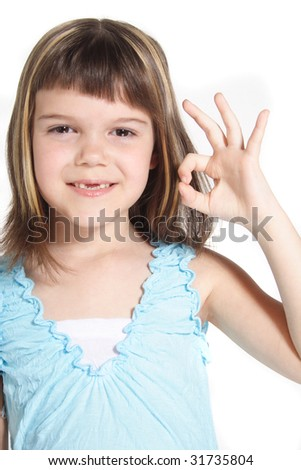 A young girl makes a positive gesture. All isolated on white background. - stock photo