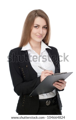 A young girl, manager, wrote in a notebook. On a white background.