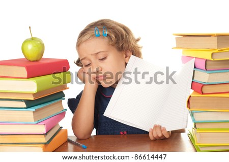 A young girl not happy about studying