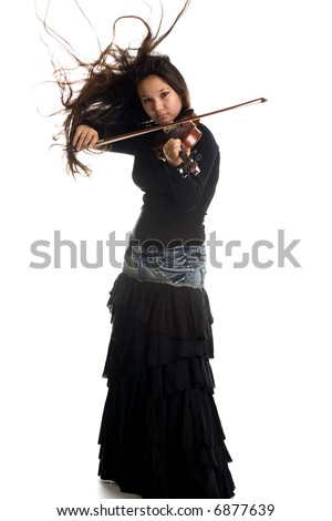 A young girl playing violin, isolated on white - stock photo