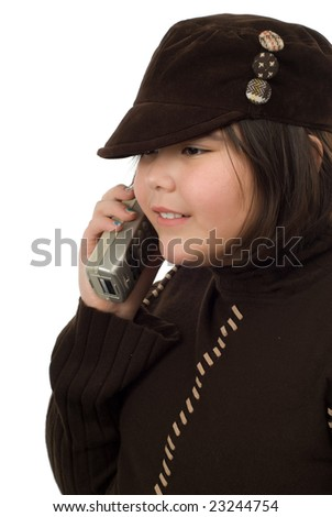 A young girl taking on a portable phone, isolated against a white background