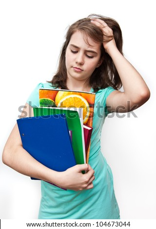 A young girl with an unhappy expression.Teen girl stressed