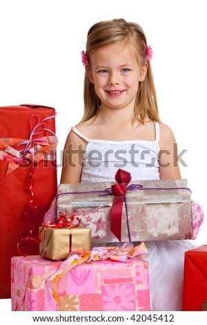 a young girl with flowers in her hair holding a silver present - stock photo