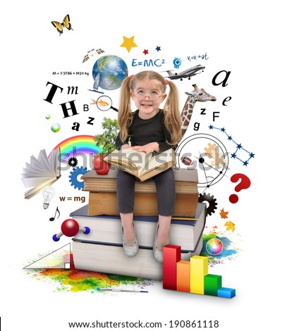 A young girl with glasses is reading a book with school icons such as math formulas, animals and nature objects around her for an education concept on white. - stock photo