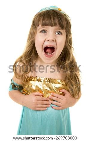A young girl with her mouth open in her Halloween costume. - stock photo