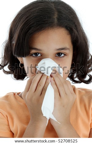 A young girl with tissue and a cold