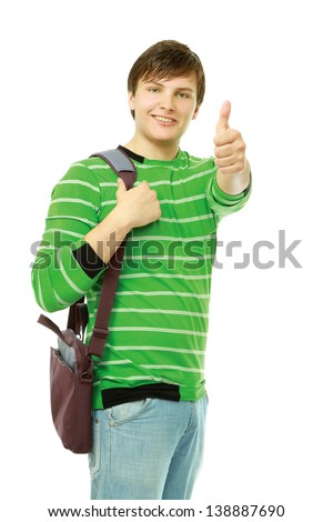 A young guy showing ok  isolated on white background - stock photo