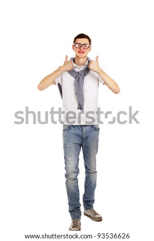 A young handsome guy showing ok, isolated on white background - stock photo