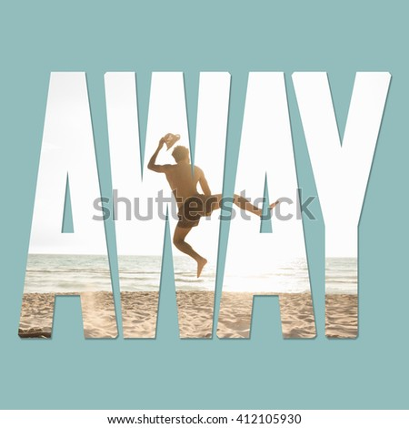 A young handsome man jumping on the beach leaving his clothes behind - stock photo