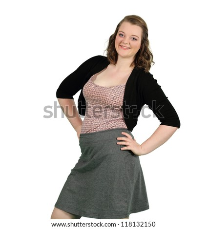 A Young Lady Smiles Isolated on White - stock photo
