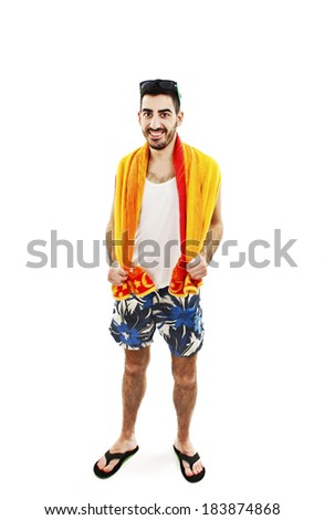 A young male in bathing clothes. Isolated on white background  - stock photo
