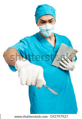 a young  male medical student (nurse, intern, doctor) with a scalpel and a book