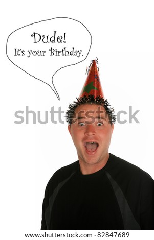 a young man celebrates a birthday, anniversary, holiday or any party at all. shot with a Fisheye lens for a fun distorted view. isolated on white with room for your text - stock photo