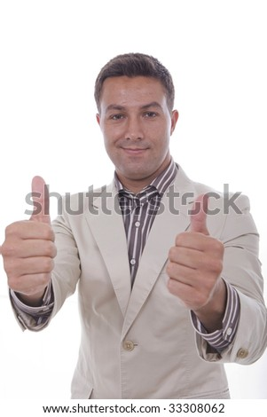 a young man his making a positive sign with his fingers - stock photo