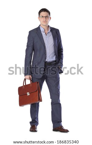 a young man in a gray suit with a briefcase hands isolated on white background