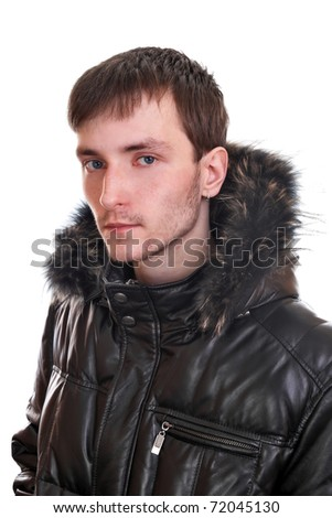 A young man in a warm leather jacket, fur insulated