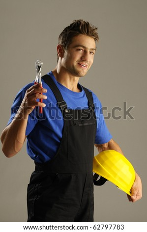 A young man ready to work - stock photo
