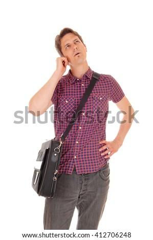 A young man standing isolated for white background talking on the phone