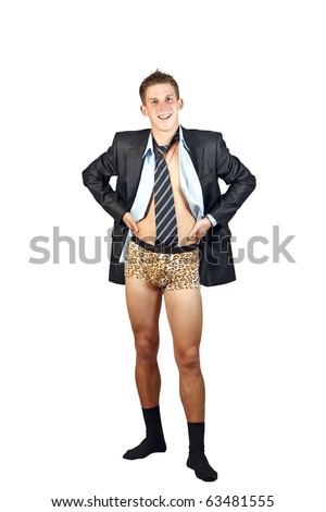 a young man wearing a jacket with no pants isolated on a white background - stock photo