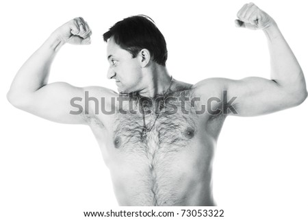 A young man with a bare-chested on a white background - stock photo