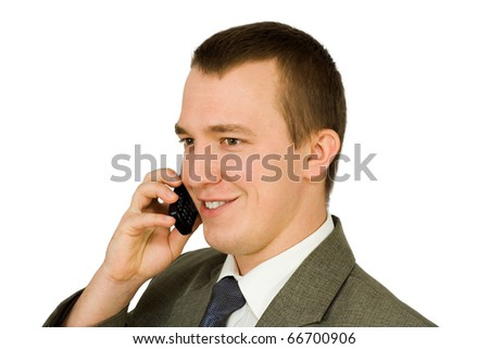 A young man with a mobile phone, on white background - stock photo