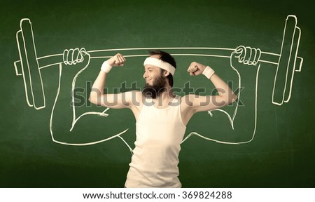 A young man with beard and glasses posing in front of green background, imagining how he would lift weight with big muscles, illustrated by white drawing concept. - stock photo