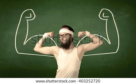 A young man with beard and glasses posing in front of green background, imagining how he would look like with big muscles, illustrated by minimalist white drawing concept. - stock photo