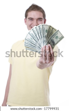 A young man with money (hundred dollar bills) - stock photo