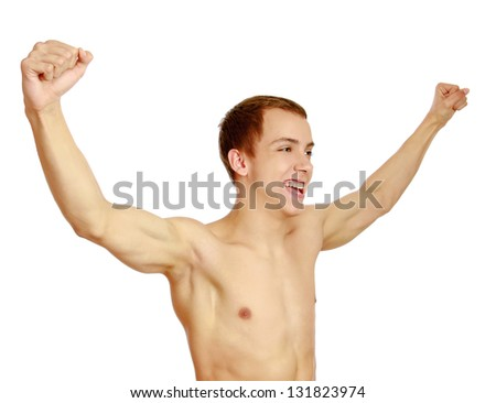 A young muscular man , isolated on white background