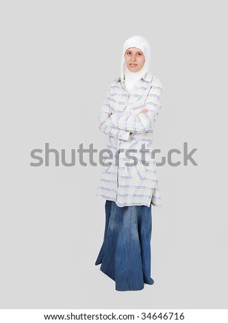 A young muslim women in traditional clothes - stock photo