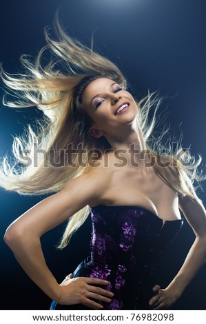 a young nice girl dancing modern dances - stock photo