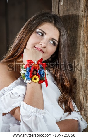 A young peasant woman - stock photo
