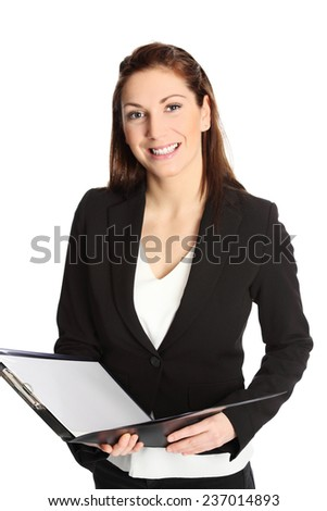 A young professional businesswoman wearing a suit and white shirt, holding a clipboard. White background.