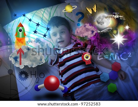 A young science boy is laying in bed at night and looking at a rocket ship with various education icons around him such as formulas and molecules. Use it for a school or genius concept.