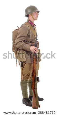 a young Soviet soldier with rifle on the white background