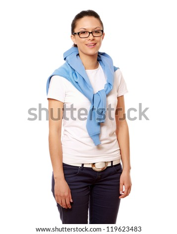 A young student standing , isolated on white background