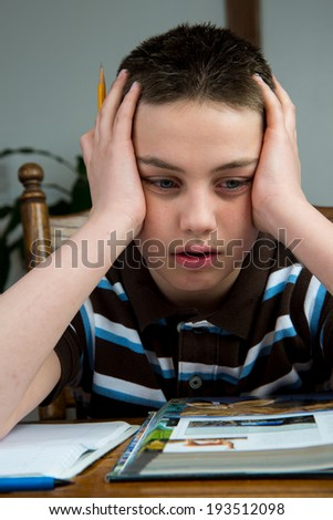 A young teenage boy stressed out over homework.