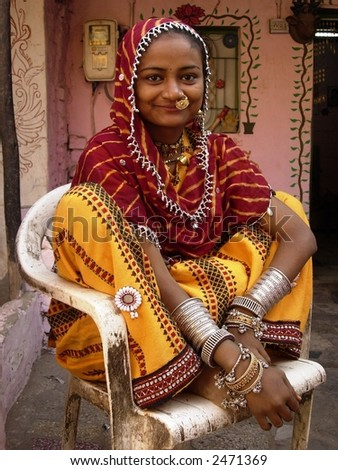 a young village woman posing in india - stock photo
