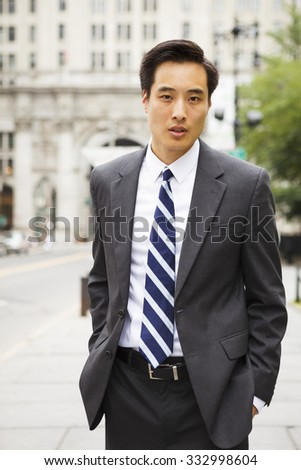 A young well dressed man on a city street.