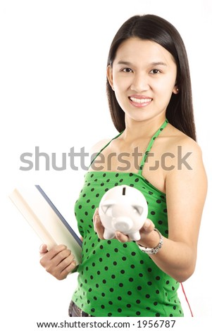 A young woman carrying a book and piggy bank