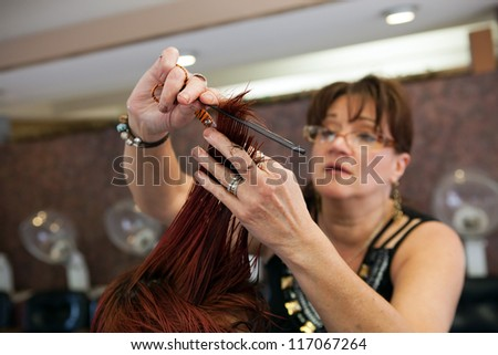 A young woman getting her hair cut by a professional hairdresser at a salon.  Shallow depth of field.