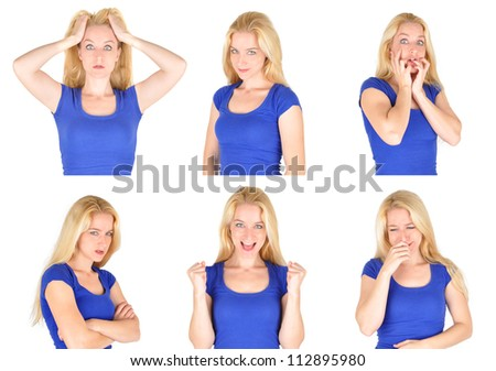 A young woman has many different emotions from happiness, sadness to anger and stress. She is wearing a blue shirt on a isolated background. - stock photo