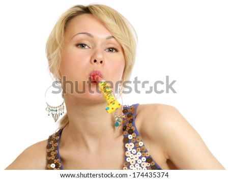 A young woman having fun - stock photo