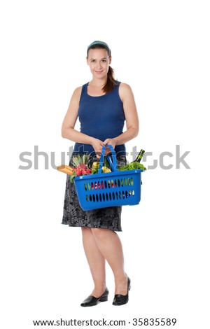 A young woman in a supermarket scenario with a full shopping basket.