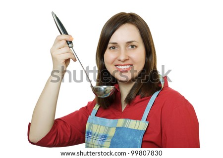 A young woman in an apron with a ladle in her hand. White background. - stock photo