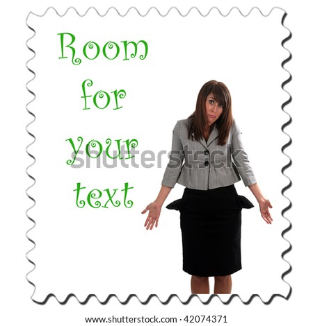 a young woman is broke and has no money, isolated on white, with room for your text - stock photo
